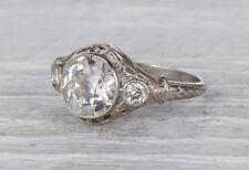 Certified 2.00ct Near White Moissanite Art Deco Engagement Ring 14K White Gold