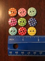 Set Of 9 Wooden Polka Dot Buttons In Colors Shown