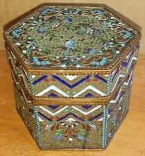 Antique Russian Enameled Box Russia Enamel Bronze Box Hexagonal