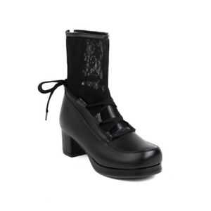 Women Round Toe Faux Leather Lace Up Back Zip Breathable Block Heels Ankle Boots