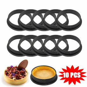 10 PCS Cake Mold Perforated Cutter Round-Shape Mousse Circle Ring Tart Decor New