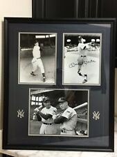 Mickey Mantle & Joe DiMaggio Autographed Framed Display With (3) Photographs JSA