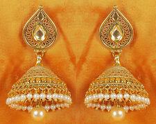 7104 Indian Bollywood Style Cutest Pearl Beaded Bali Polki Earring Jewelry Set