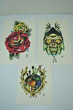 Bird Skull Flower HIGH Quality Print / Copy Tattoo Color Flash Wall Art LOT 3  H