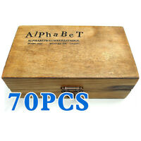 Pack of 70X Rubber Stamps Set Vintage Wooden Box Case Alphabet Letters Craft HY