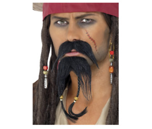 PIRATE BLACK MUSTACHE /& BEARD FACIAL HAIR COSTUME FM58280