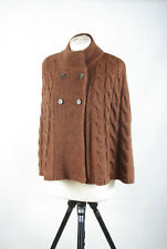 P395/04  Next Chunky Cable Knit Brown Poncho with Wool ,size L UK 12