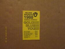 Pioneer League Helena Brewers Vintage Defunct 1988 Logo Baseball Pocket Schedule