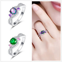 Amethyst & Rainbow White Topaz & Emerald Gemstone Silver Fashion Ring Wedding