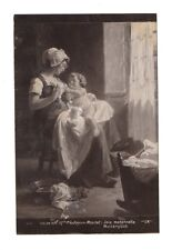 ANTIQUE POSTCARD LADY SITTING WITH A BABY IN HER ARMS BY P. VALLAYER MOUTET