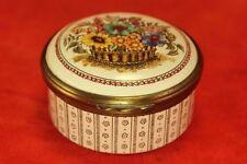 """Vintage Lg Older Mark Bilston Halcyon Days Floral 2⅜"""" Round Patch Box Friendship"""