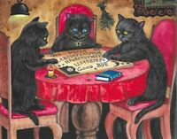 8x10 PRINT OF PAINTING RYTA HALLOWEEN BLACK CAT OUIJA BOARD SPIRIT Witch GHOST