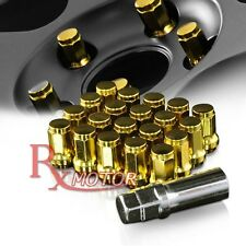 20 PIECES GOLD ACORN LUG NUTS WHEEL M12 x 1.25MM TUNER RACING + KEY LOCK 20 PCS