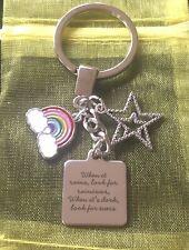 RAINBOW Stars INSPIRATIONAL Positive Message PENDANT Charm KEYRING Keychain Gift