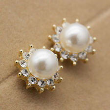 Womens Fashion Pearl Crystal Shiny Sun Flower Gold Ear Stud Earrings Gifts