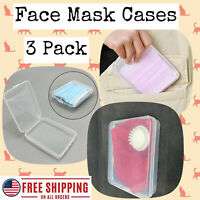Face Mask Storage Case 3 Pack Set; PP Protection Container Box Cover