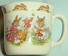 Mug Rabbits Sewing, Bunny w Pull Toy Horn, Rabbit Frieze Bunnykins Royal Doulton