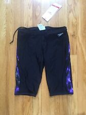 NWT Speedo Endurance+ Jammer Men's 30 Black/Purple Swimsuit