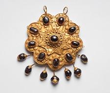 Ancient Jewelry Ottoman Gold & Garnet Pendant Brooch 12th century A.D. Luxury