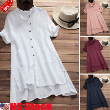 Women Retro V Neck Short Sleeve Casual Loose Baggy Tunic Tops Blouse Plus Size