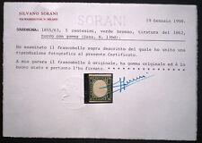 Sardegna 1862 IV emissione 5c verde bronzo NUOVO Sass. 13Dd certificato Sorani