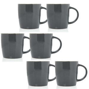 6pcs 350ml Essentials Glossy Slate Grey Stoneware Minimalist Mug Coffee Tea Cup