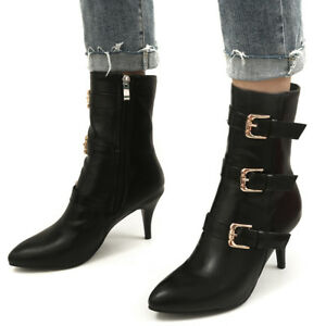 Womens Mid-Calf Boots Side Zip Stiletto High Heels Pointed Toe Kitten Heel Shoes