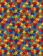 Kids Fabric - Autism Awareness Rainbow Puzzle Piece - Timeless Treasures YARD