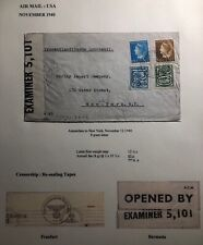 1940 Amsterdam Netherlands Dual Airmail Censored Cover To New York Usa