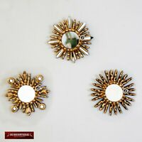 """Gold Small Sunburst Mirror 6""""- Handcarved Wood Round mirror for Wall decor set 3"""