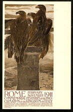 1911 ROME ITALY International Art Exhibition PC Poster EAGLES Signed CAMBELLOTTI