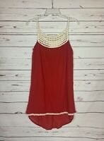 Umgee Women's S Small Rust Ivory Lace Boho Sleeveless Cute Tunic Top Tank Blouse