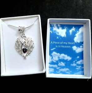 A Piece of my Heart is in Heaven Remembrance Angel Wing & Heart Necklace