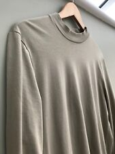Mens Beige/Sand 'Asos' Fashion Long Sleeve T-Shirt with Dropped Hem Size Small