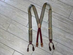USA made COLE HAAN vintage SUSPENDERS beige striped LEATHER fittings trafalgar