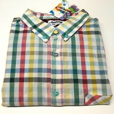 Mens 2XL DESIGUAL Shirt White Red Green Gingham Check Button Cuff Cotton BNWT