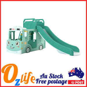 Play House Bus Kids Slide Basketball Hoop Indoor Play Slide