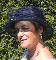 Damenhut traumhafter Organzahut  Dunkelblau  Anlasshut Hochzeit Ascot Anlasshüte