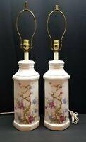 Pair Vintage Mid Century Porcelain Ceramic Flower Tree Accent Table Lamp Light