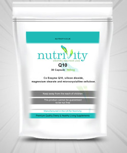 Antioxidant Beauty Supplement Co-enzyme Q10 100mg Capsules Nutrivity UK