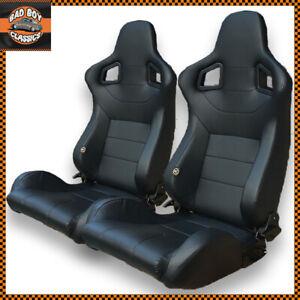 Pair BB6 Reclining Bucket Sports Seats Black Ideal LANDROVER DEFENDER