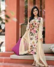 Jaipuri Flower Printed Summer Special Kurti Indian Kurta Palazzo Dupatta Dress
