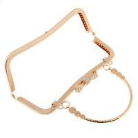 Vintage Gold Purse Frame Rhinestone Kiss Clasp Handle Bag DIY Accessories