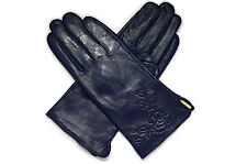 Ladies Soft Genuine Leather Fur Lined wrist Gloves Medium or Large flower detail