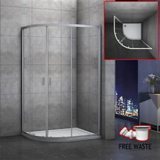 900×760mm Quadrant Shower Enclosure and Stone Tray Corner Cubical Glass Left