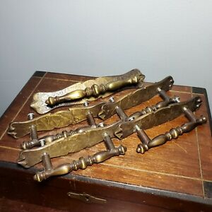 """Set of 5 Antique/Vintage Victorian Canadian Brass Chippendale Drawer Pulls 3"""""""