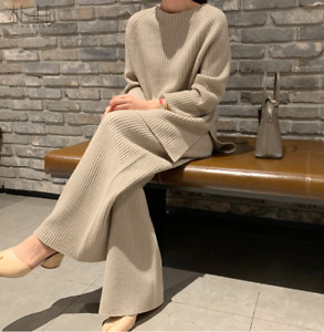 Women 100% Wool Knitted Sweater Wide-legs Pants 2Pcs Loose Thick Warm Suit Feng8