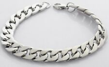 Heavy Mens 20cm 316L Stainless Steel Silver Curb Link Chain Bracelet Chunky UK