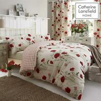 Catherine Lansfield Floral Red Cream Duvet Set Reversible Bedding Curtain Sheet