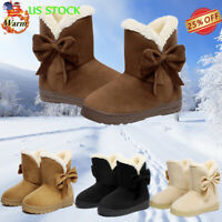 US Women Winter Warm Suede Ankle Snow Boots Fur Lined Flats Bowknot Casual Shoes
